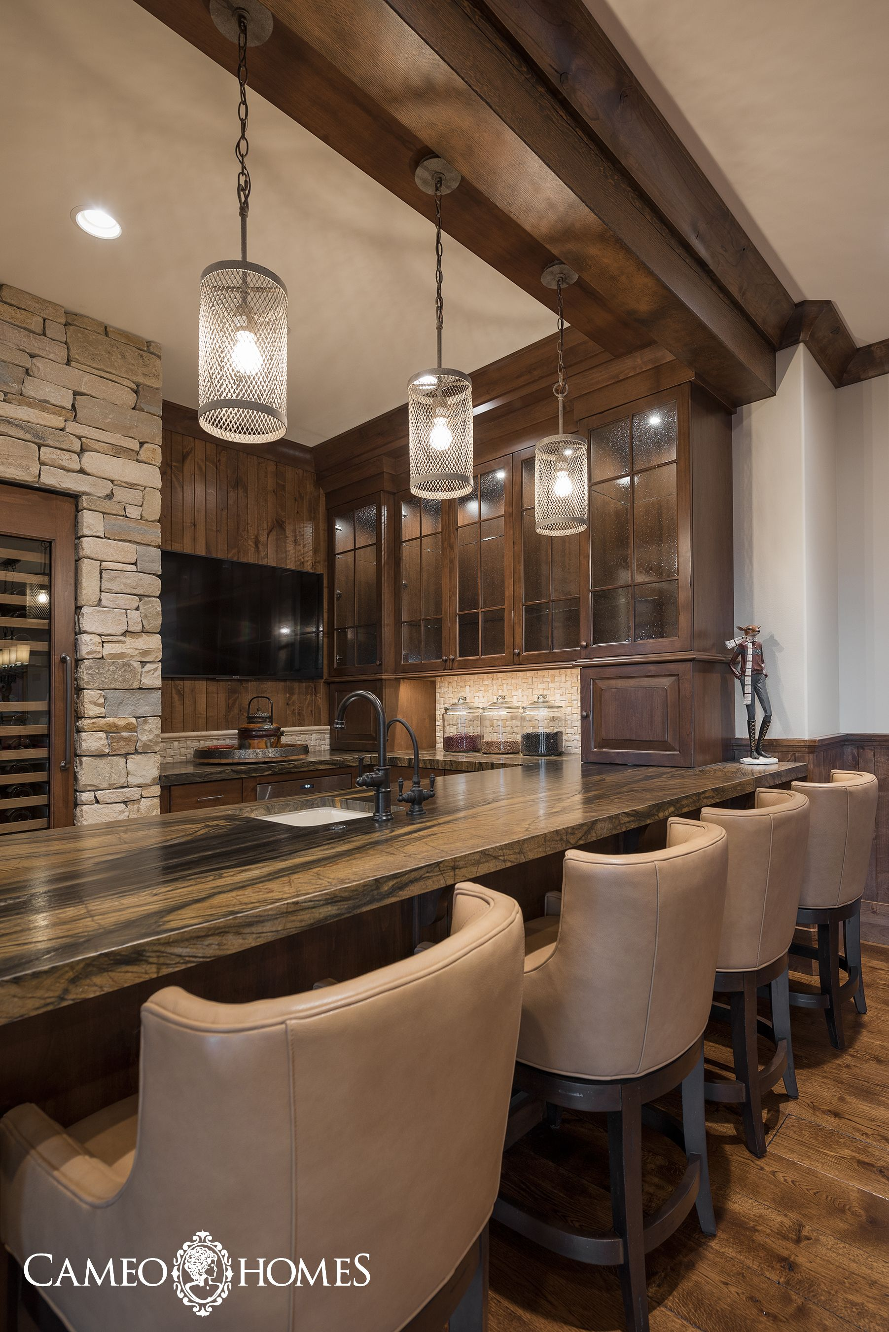 Perfect bar stools in this basement kitchen. Park City Home Builders ...