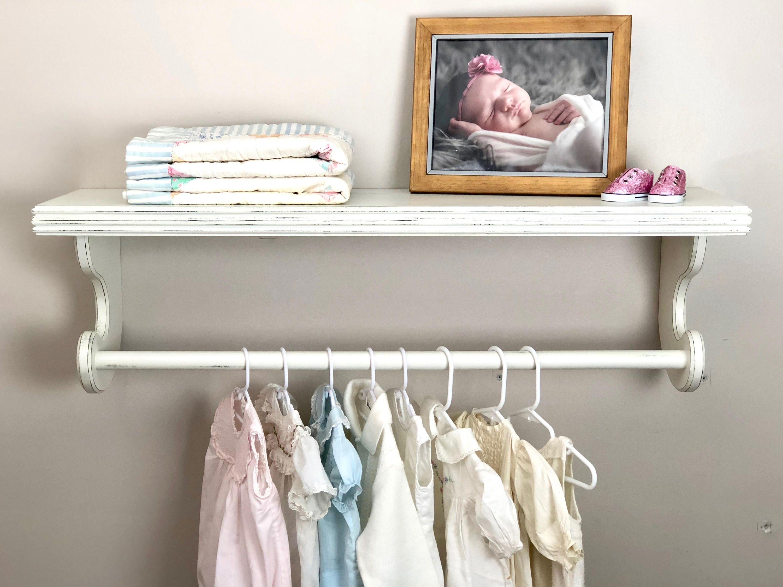 Nursery Shelves Hanging Clothes Rack Distressed Shelf Shelf Etsy