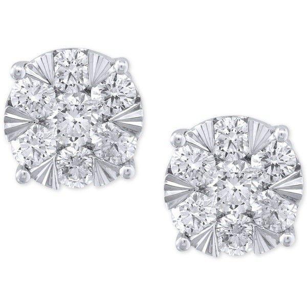 Effy Diamond Stud Earrings 1 5 8 Ct T W In 14k White Gold 6 299 Liked On Polyvore Featuri Diamond Earrings Studs 14k White Gold Earrings Stud Earrings