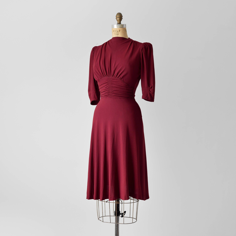 1930s Rayon Crepe Dress 30s Burgundy Fashion Originators Guild Dress 1940s 40s Gathered Red Dress Vintage 40 S 30 S Day Dress Size Xs Dresses Vintage Dresses Burgundy Fashion [ 3000 x 3000 Pixel ]