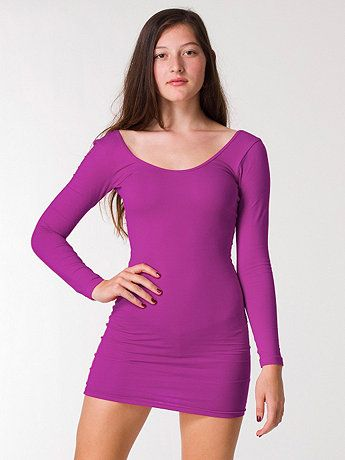 689eeab3cfbf9 American Apparel - Cotton Spandex Jersey Double U-Neck Long Sleeve Mini  Dress