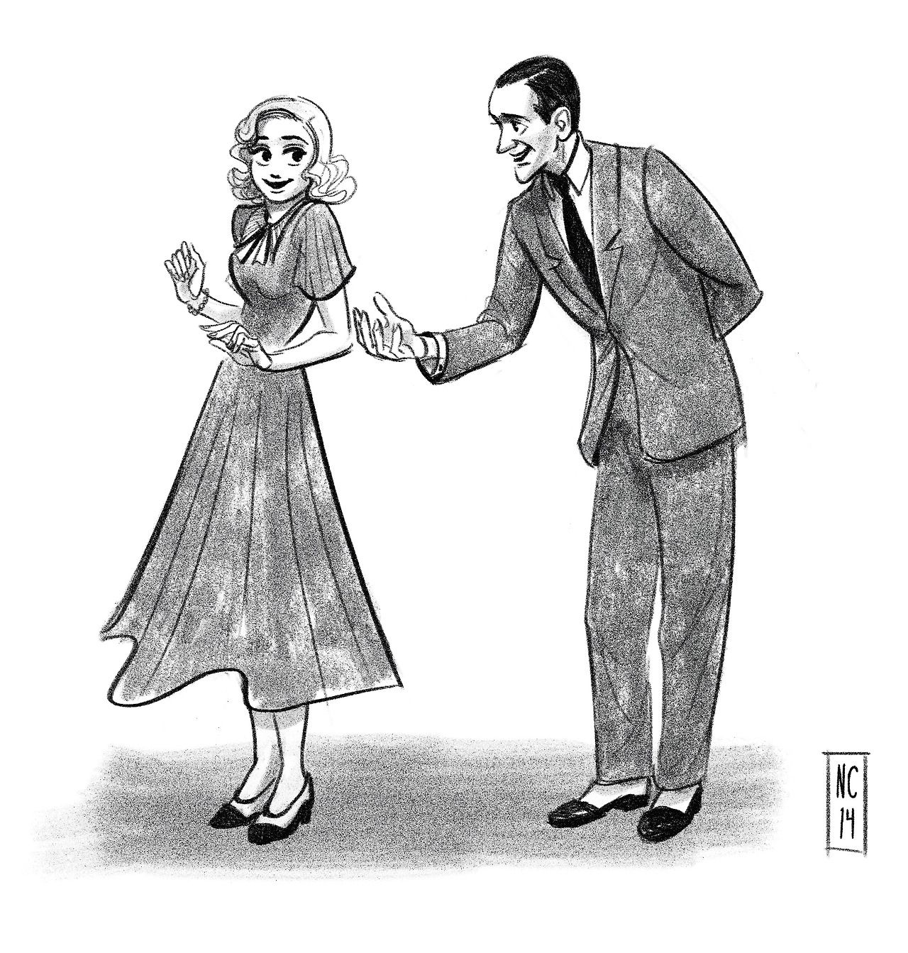 """Fred Astaire and Ginger Rogers by scribbledigooks on tumblr. I believe this is a pose from """"Shall We Dance"""" (1937), but Ginger's dress is from """"Swing Time"""" (1936), and his suit is from """"Top Hat"""" (1935) #artwork #popculture #swingtime #fredastaire #gingerrogers"""