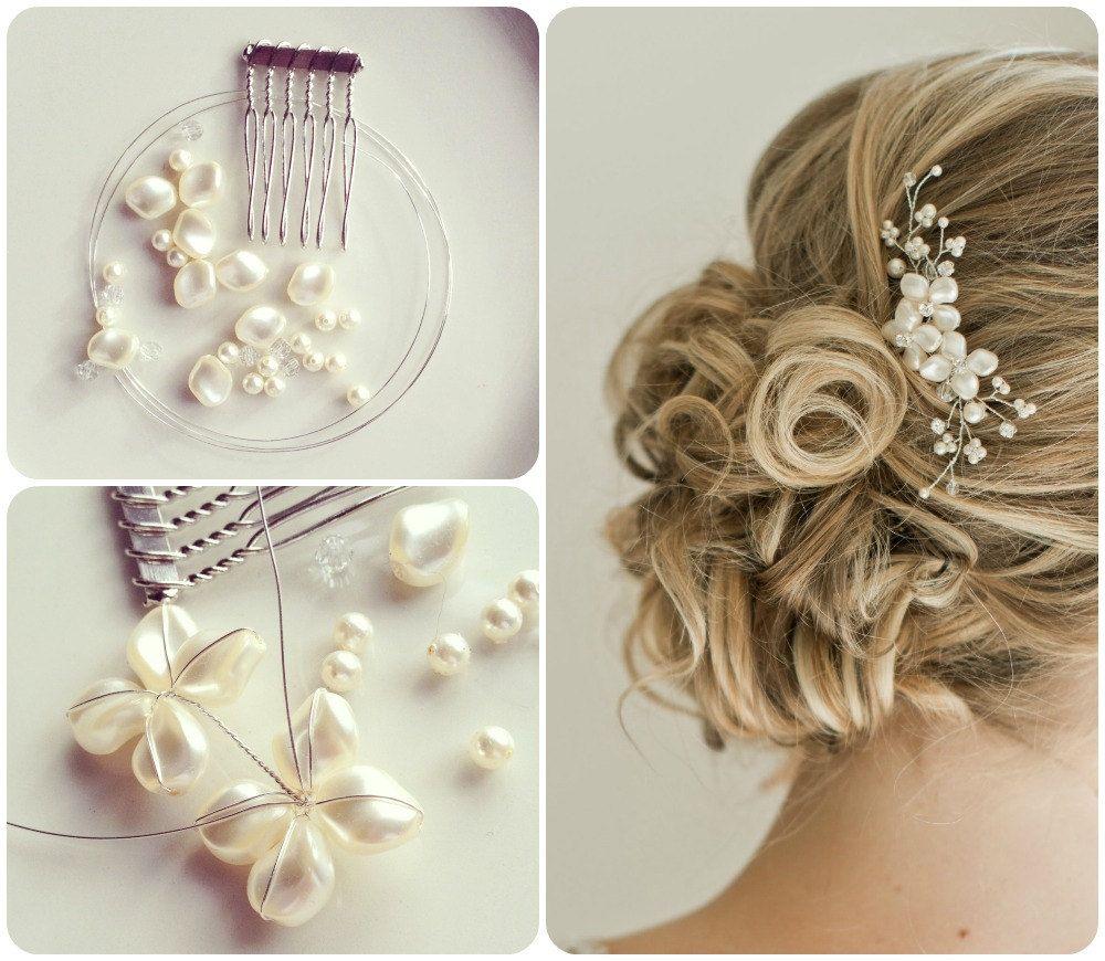bridal hair comb, bridal hairpiece, pearl hair comb, floral