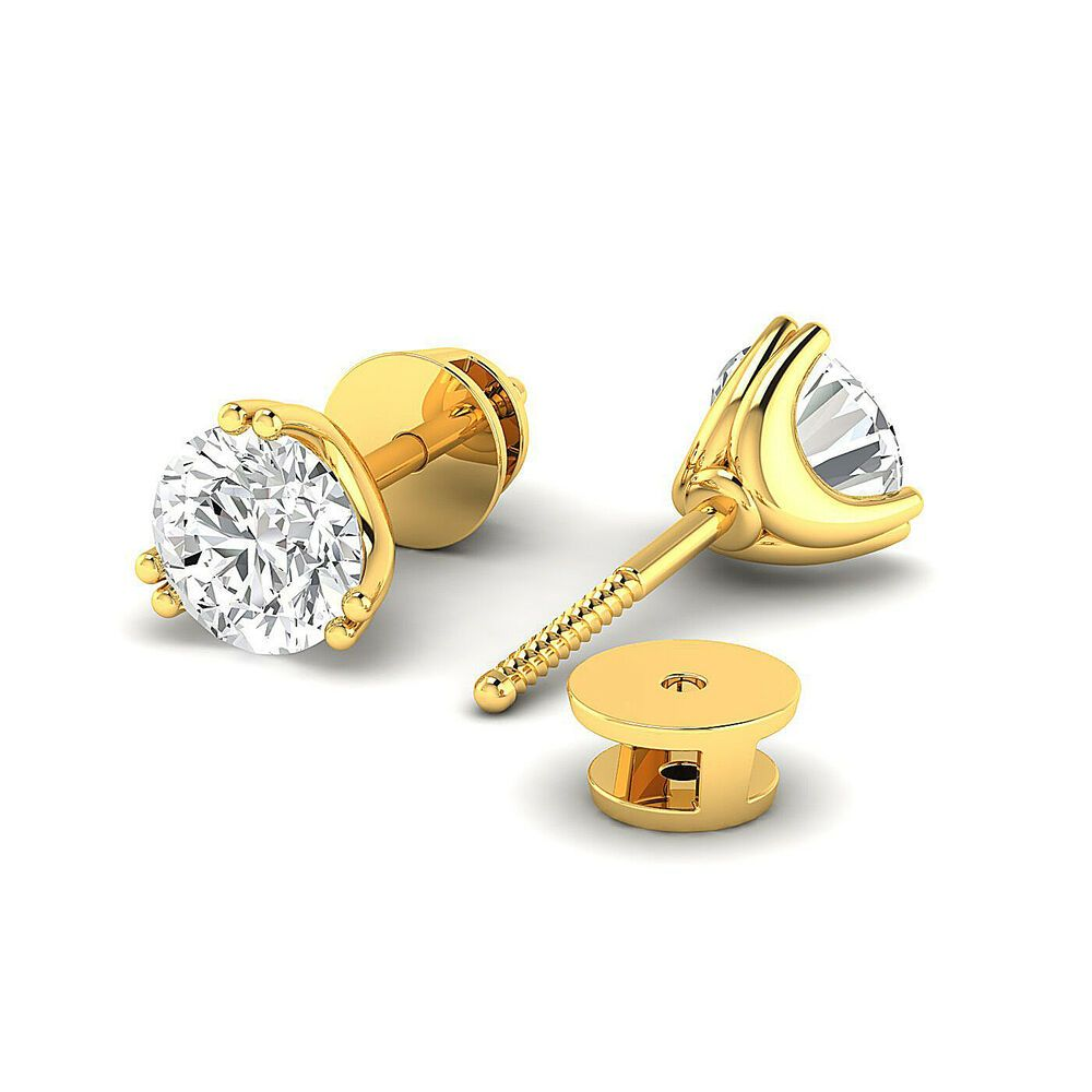 Round Brilliant 14K white-gold GH//VVS Stud Earrings for Women perfect Jewelry Gifts for Women Teen Girls Earring Studs 0.3 to 4 Carat Moissanite Stud Earrings
