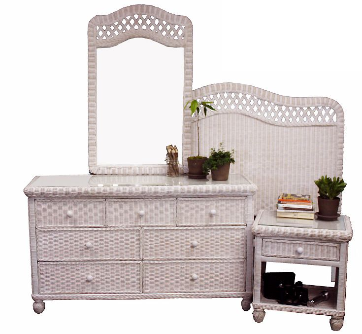 South Shore white wicker bedroom furniture by Summit Design