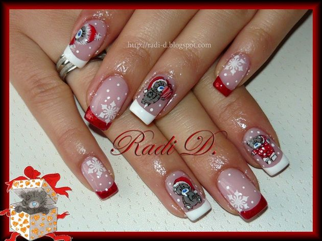 Christmas Me To You 2013 Nail Art Gallery In 2020 Cute Acrylic Nail Designs Christmas Nail Art Christmas Nails