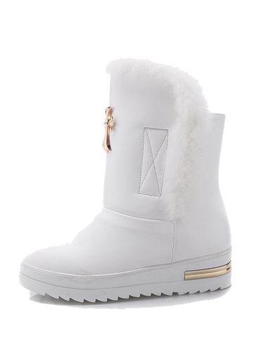 Stylish Fur Patch Warm Flat Heel Winter Boots