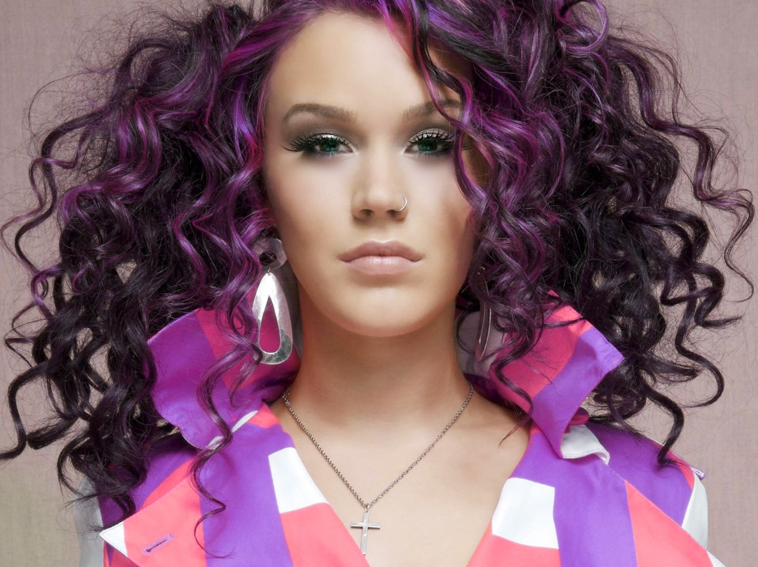 Curly Purple Hair Alicee Before Taaz Virtual Makeover