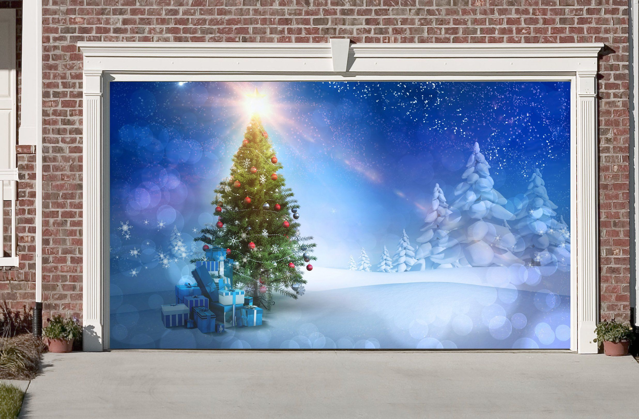 Christmas Tree Garage Door Covers 3d Banners Outside House Decorations Billboard GD36