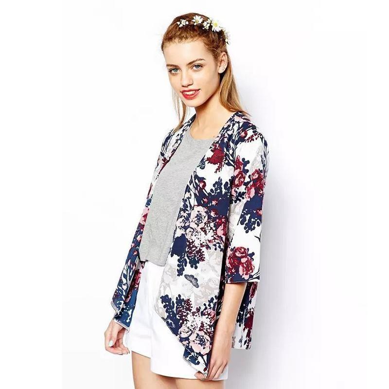 Simple Printed Cardigan Jacket Kimono