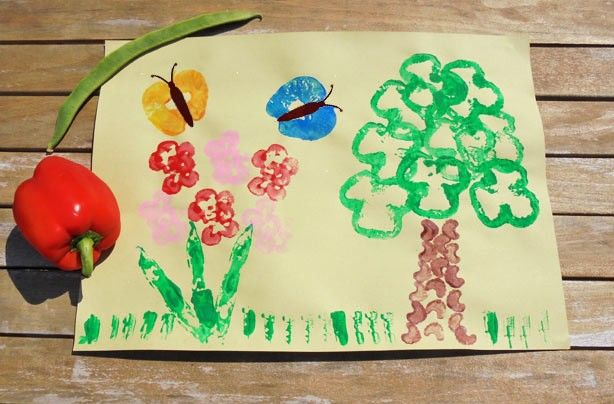 Vegetable printing: How to make a vegetable printing picture | Vegetable painting, Vegetable prints, Painting for kids