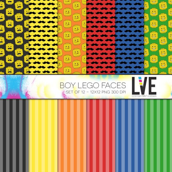 12 X 12 Digital Paper Packs Boy Lego Faces By Xxlve On Etsy 500