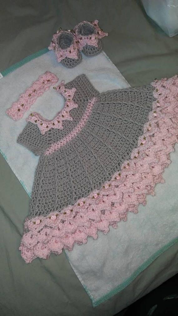 Crochet pink and gray baby dress set with rosebuds comes with ...