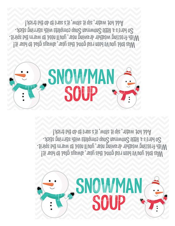 Peaceful image inside snowman soup free printable bag toppers