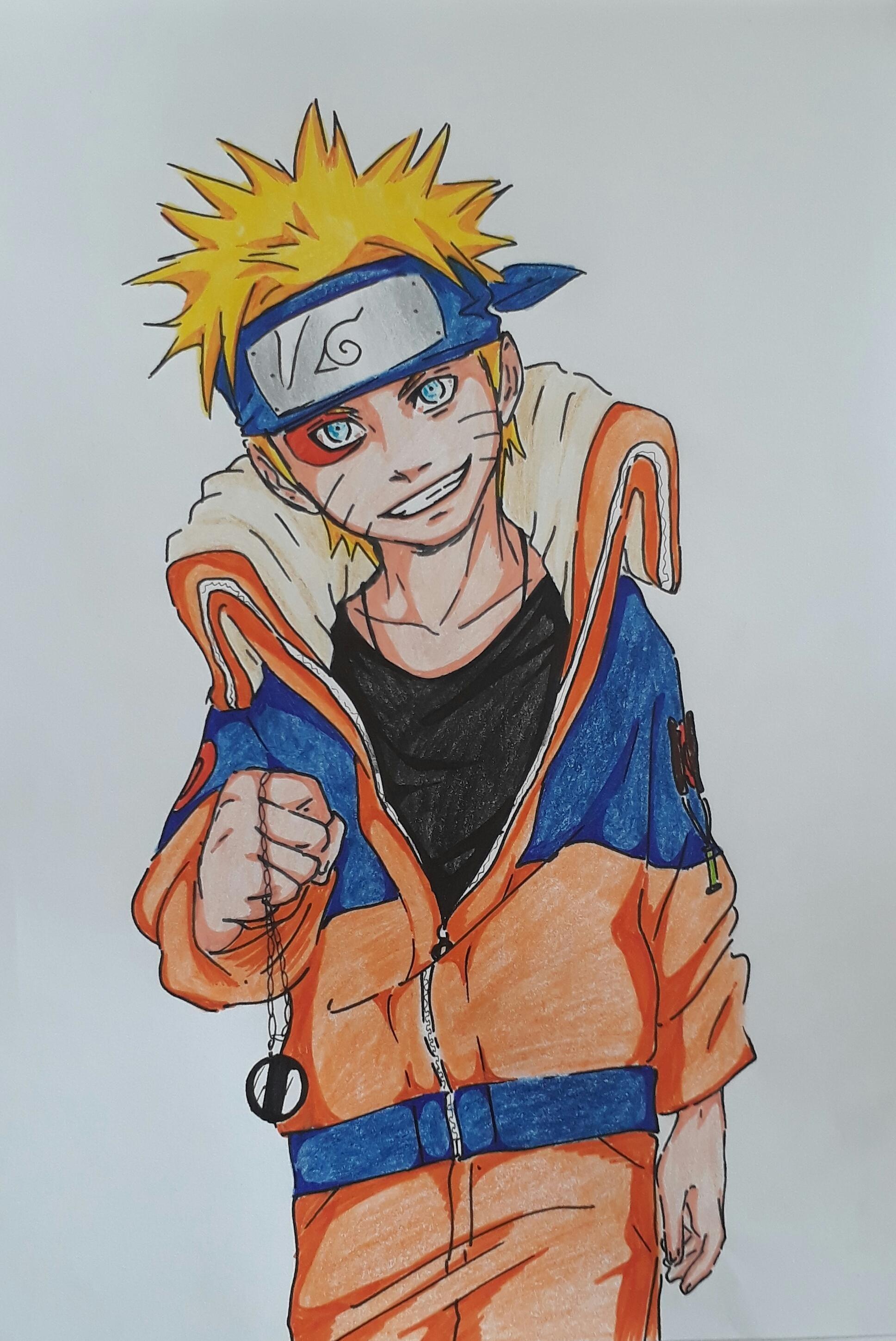 I drew Naruto A4 sign pen and colour pencil   Anime character drawing,  Character drawing, Anime character
