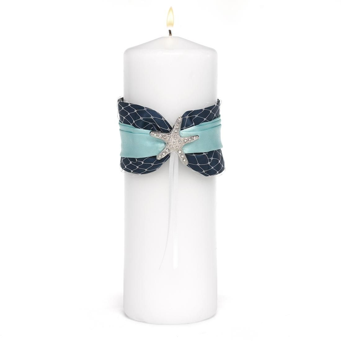Beach wedding sand ceremony sets  Treasures from the Sea Wedding Unity Candle made of solid white wax
