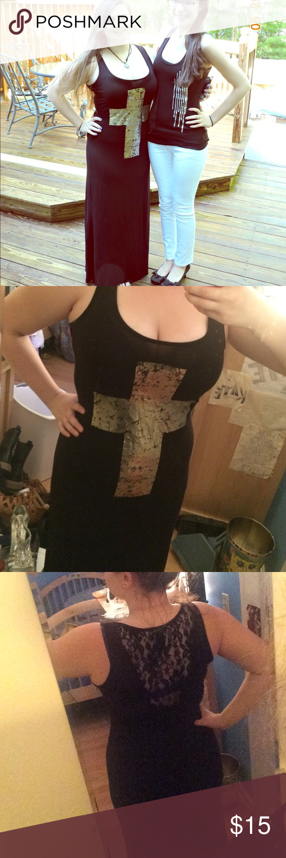 Black maxi dress with lace back and metallic cross Black maxi dress with a sexy lace back and a metallic gold cross on the front. Worn twice. Soft material, hugs your body in all the right places Dresses Maxi