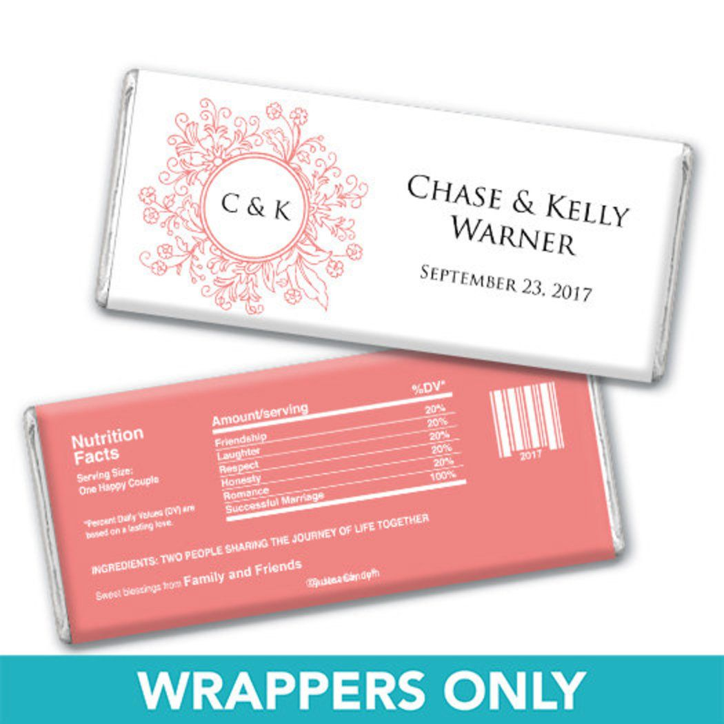 Wedding Favor Personalized Chocolate Bar Wrappers Monogram Flower ...