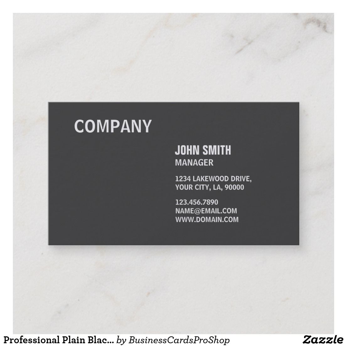 Professional Plain Black Elegant Modern Simple Business Card