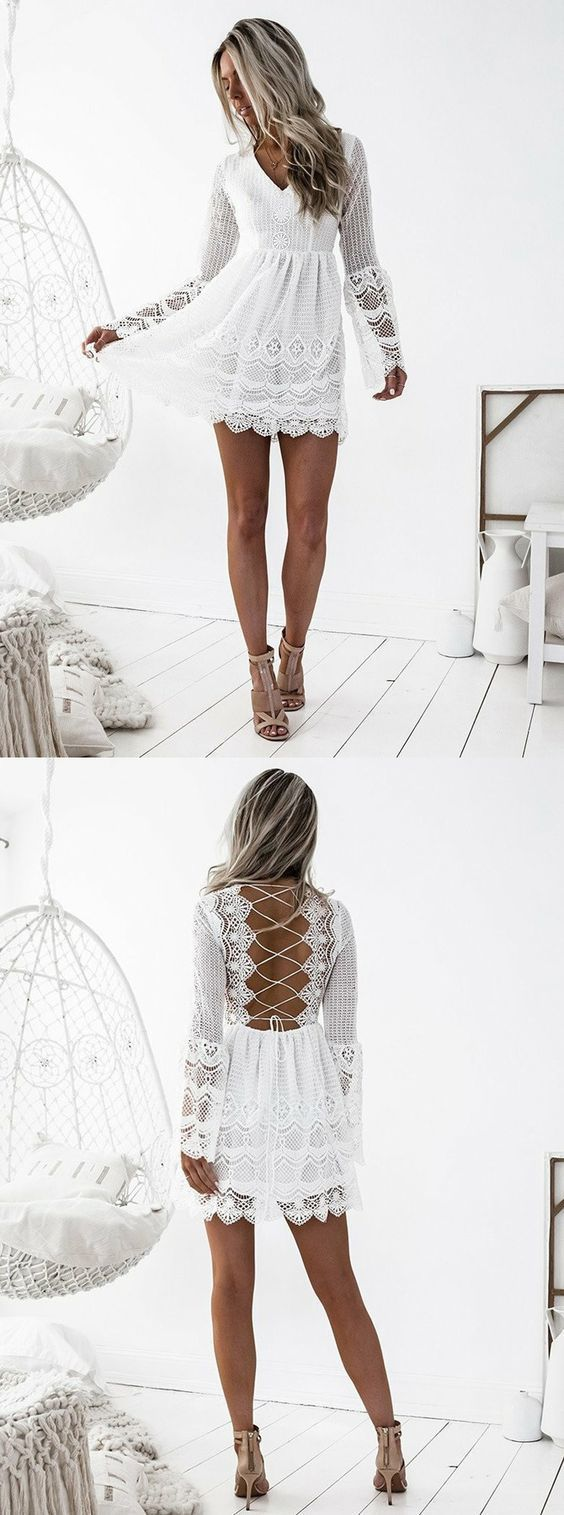 Long sleeve white homecoming dresssimple lace short prom dresses