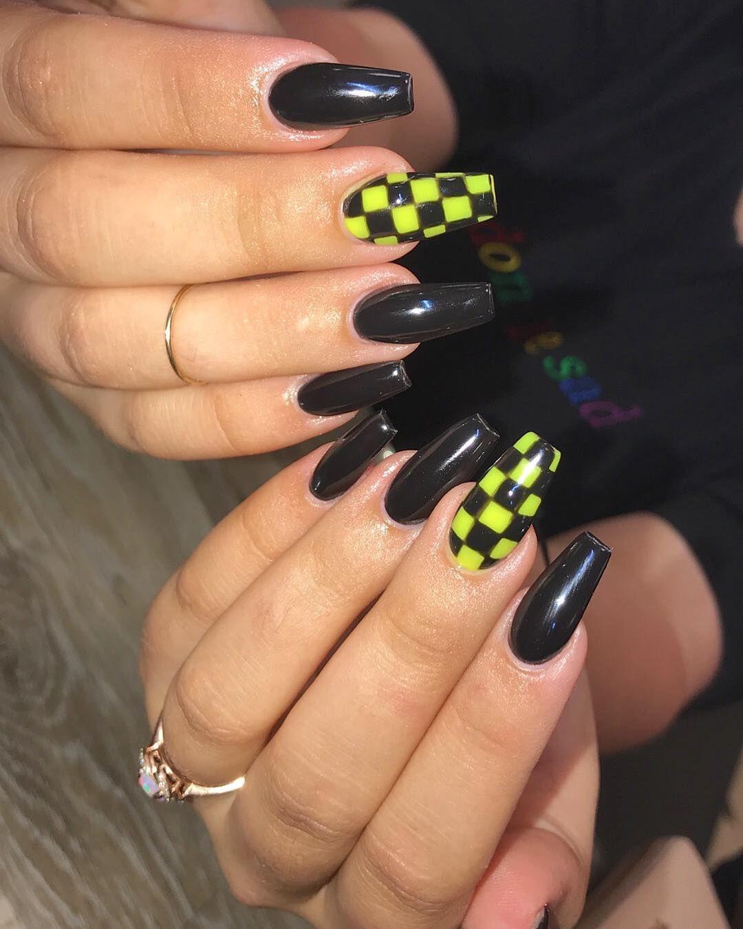 Acrylicnails Checkers Handpainted Coffinnails Ballerinanails Charlestonnails Summervillenails Goos Long Square Acrylic Nails Checkered Nails Band Nails