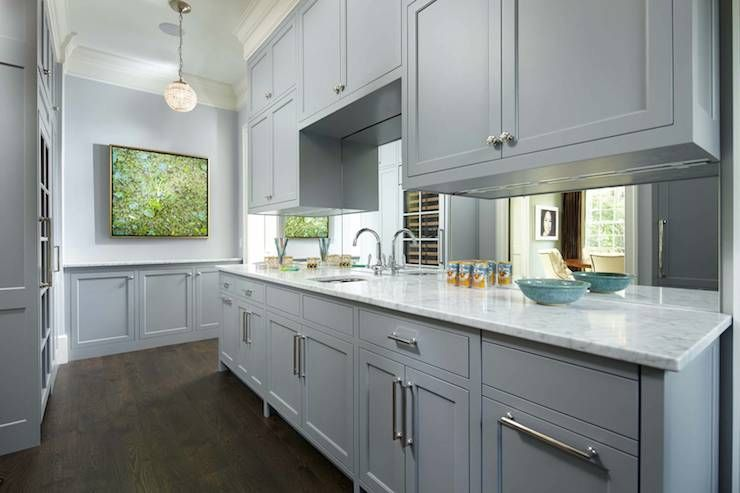 Gray Butler S Pantry Boasts Blue Gray Paint On Upper Walls And Gray Wainscoting On Lo Kitchen Cabinet Design Shaker Style Kitchen Cabinets Grey Painted Kitchen