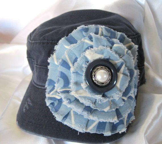 SALE.....Cadet Military Distressed Hat Navy Blue by theraggedyrose