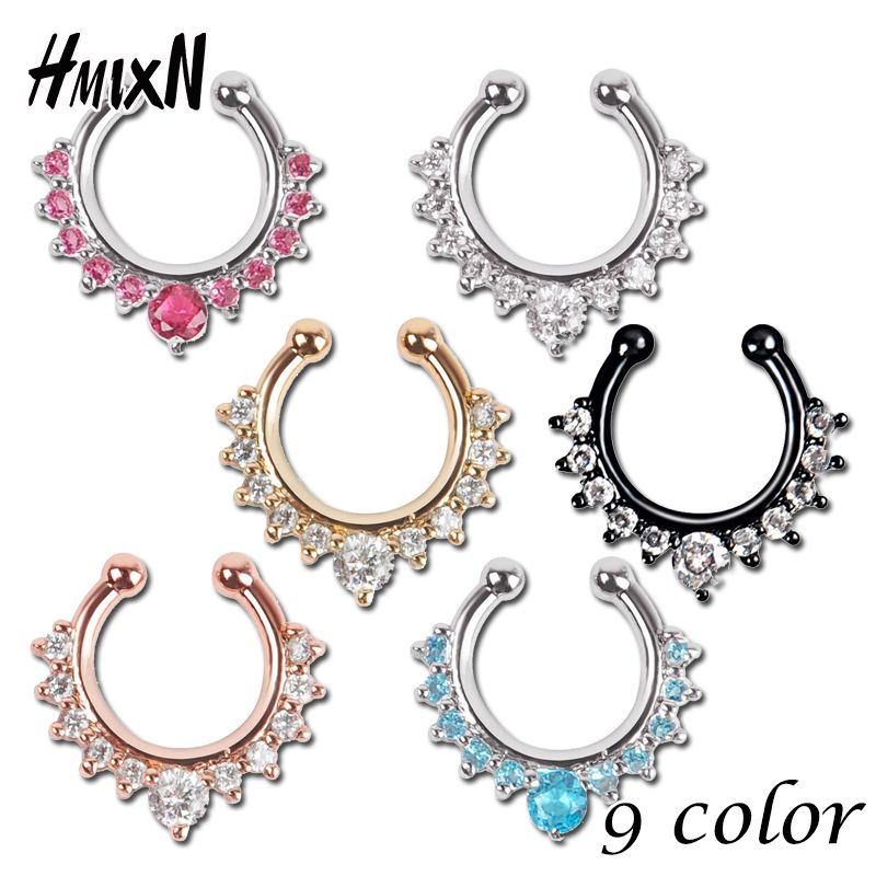 Top Quality Hot Sale Fake Septum Crystal Clicker Fake Nose Ring