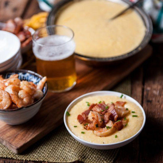 Bacon Beer Shrimp with Beer Cheese