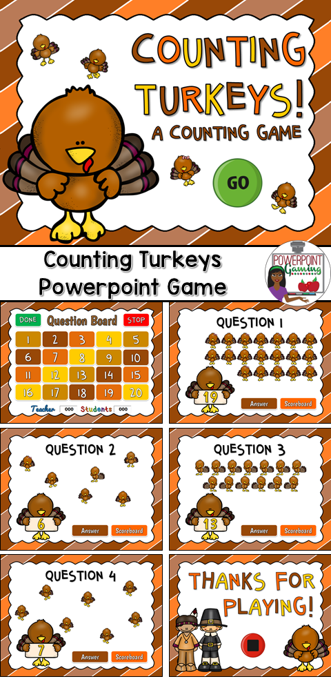 Have some Thanksgiving fun with this awesome turkey counting game. Students count the turkeys and provide the answer.. This is a teacher vs. student game (see description below) so your student will love competing against you.