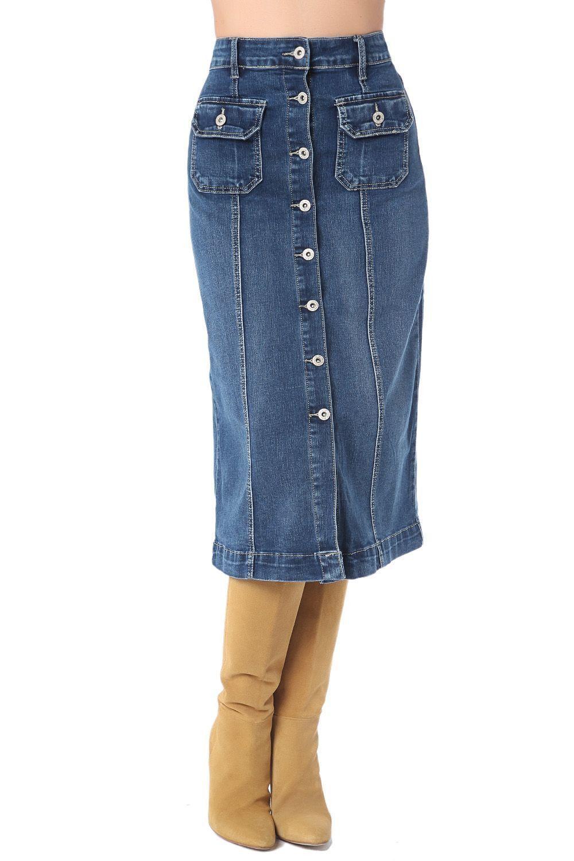 3dcef0546 Falda jean a media pierna con botones … | juan | Falda…