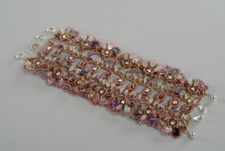 Bracelet made of natural stones por Knittedbijouterie