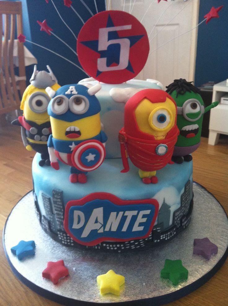 Image result for minion superhero cake Connors cake Pinterest