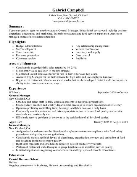 Restaurant General Manager Resume - restaurant manager resume