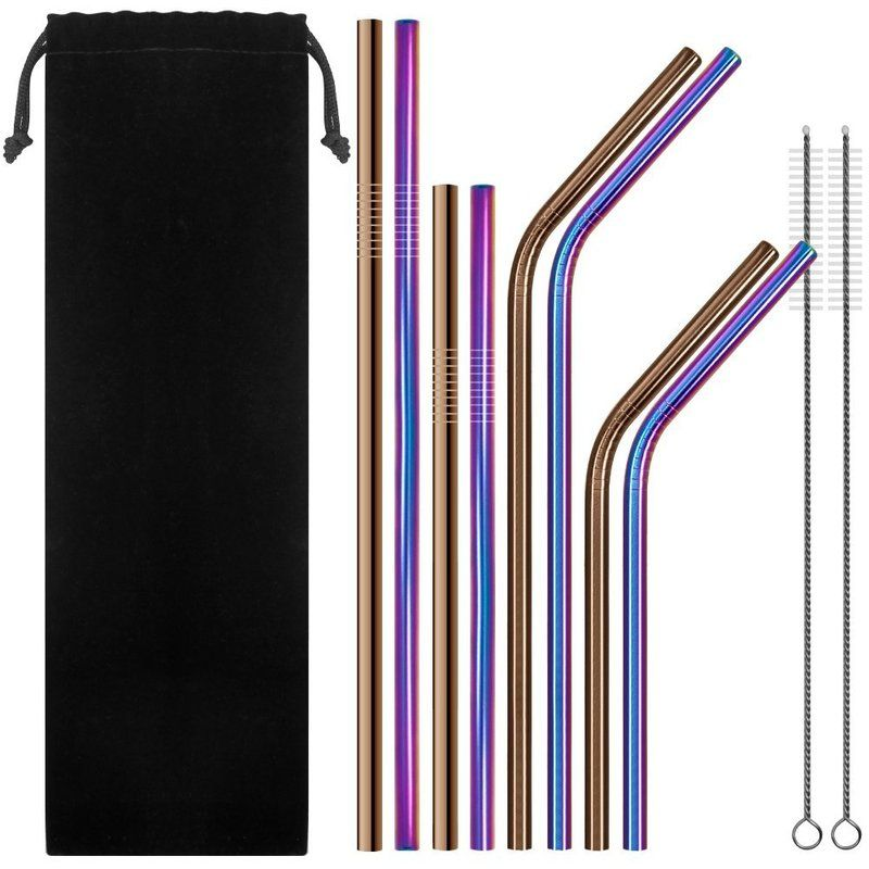 Set of 10 Reusable Stainless Steel Straws Extra Long 10.5 Metal Drinking Straw with 2 Brushes and Carry Bag,5 Bent and 5 Straight Straw for Tumblers,Cold Beverage,Starbucks,Mason Jar-Multicolor /…