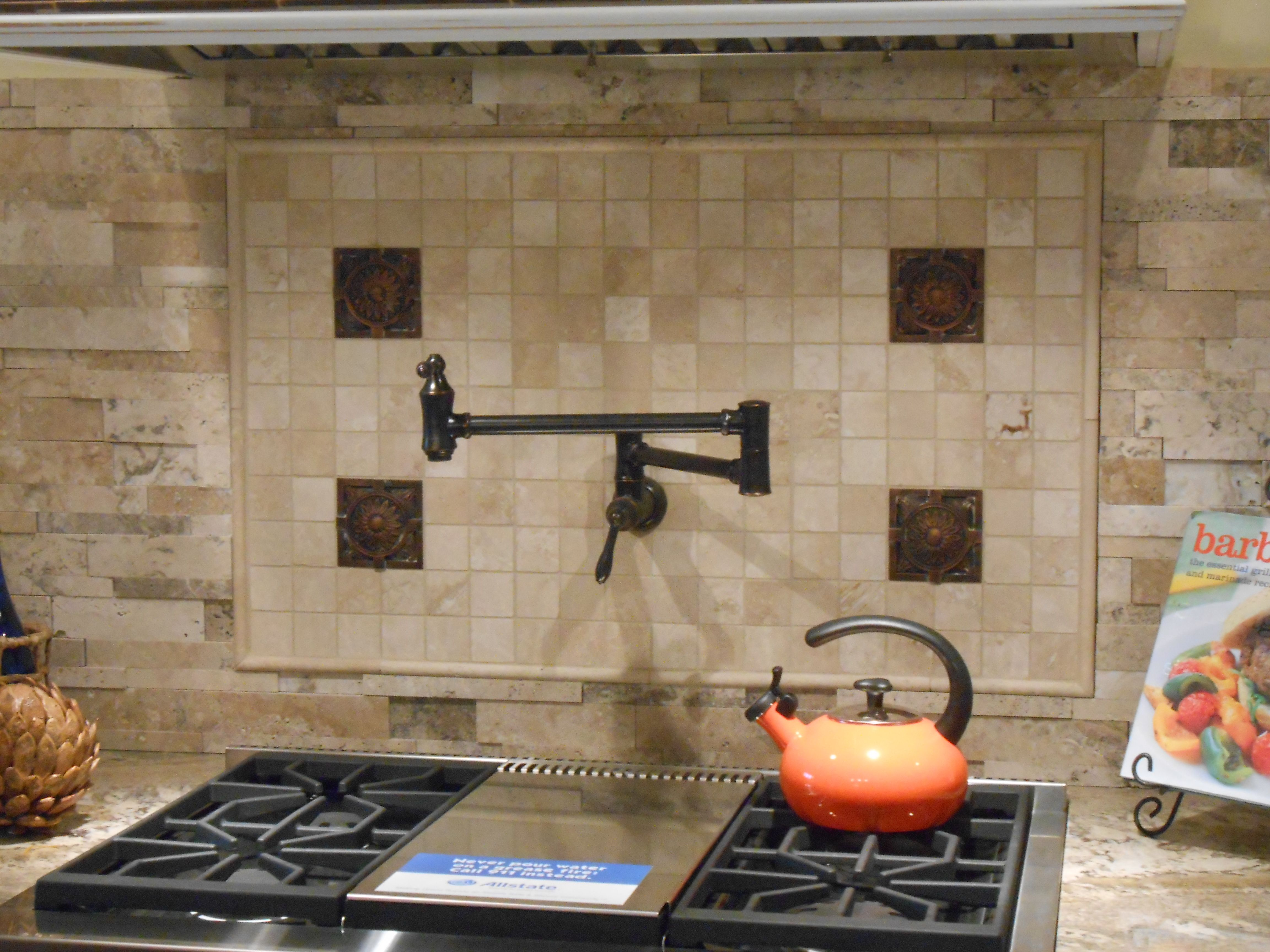 back splash feature behind stove