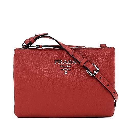 3c2dddb33333 Prada Womens Red with Silver Hardware Vitello Phenix Leather Crossbody Handbag  Bag 1BH046