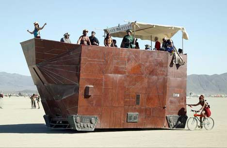 Real-life Jawa Sandcrawler created for the Burning Man Festival