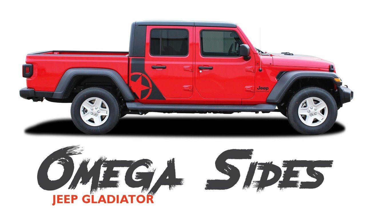 Jeep Gladiator Omega Side Body Star Vinyl Graphics Decal Stripe Kit For 2020 2021 Models Vinyl Graphics Stripe Kit Jeep Gladiator