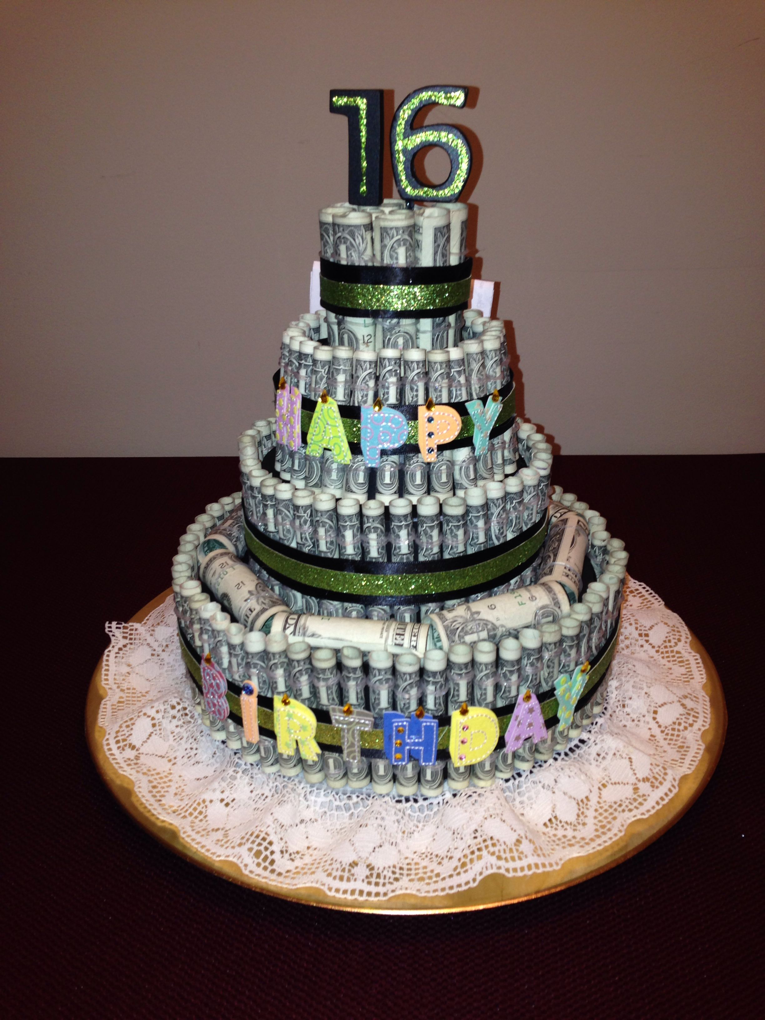 Money cake we need to make this for grandma pearl 39 s birthday 2014 projects me and my girl - Money cake decorations ...