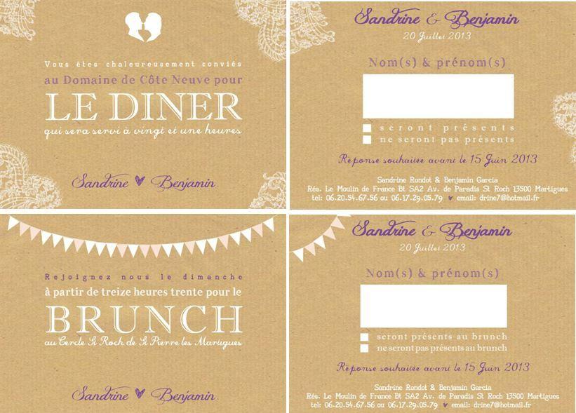 Connu faire part MARIAGE coupon réponse dîner & brunch craft & dentelle  FX79