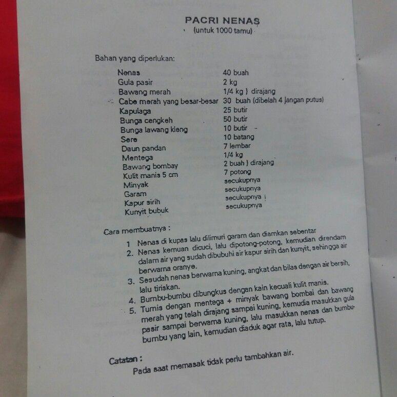 Pacri Nanas Resep Masakan Makanan