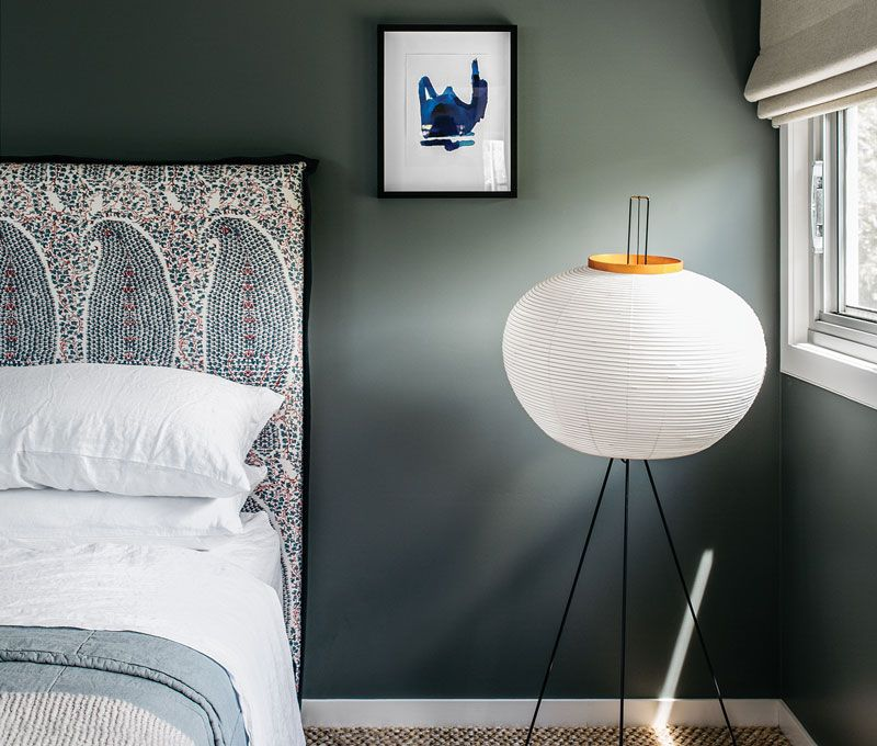 marvellous green grey bedrooms walls | Moody gray green walls with patterned upholsetered ...
