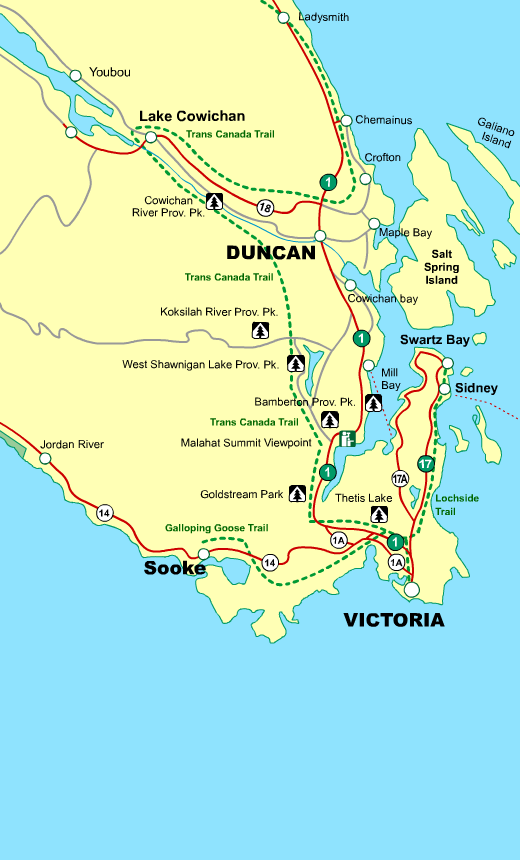 Map Of Duncan Bc Canada Travel Map Victoria To Duncan Vancouver Island BC Canada