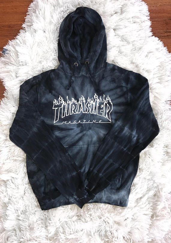 9c03b62a358f Thrasher Tie Dye Hoodie 100% Cotton High Quality Print -- will not crack or  fade  sizing is in unisex  Body Width (inches) S  17 M  19 L  20-1 4 XL   22-1 2 ...