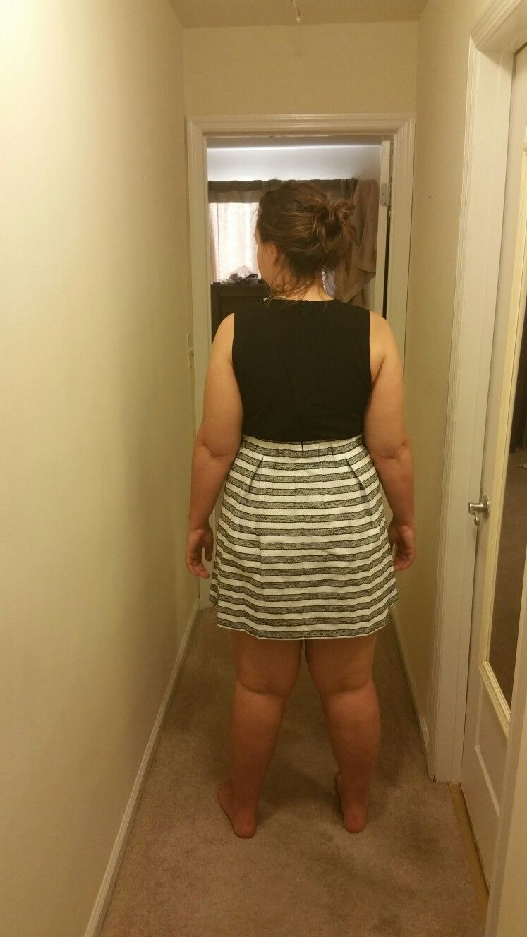 """SF#3 Feedback: Too short! No more pleats! This is so not my style, but it did fit well up top. Length was way too short, remember I am 5'9"""" and need to COVER my large legs"""