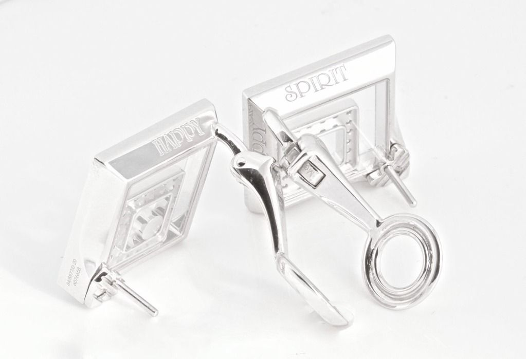 CHOPARD White Gold and Diamond HAPPY SPIRIT Square Earrings | From a unique collection of vintage more earrings at http://www.1stdibs.com/jewelry/earrings/more-earrings/