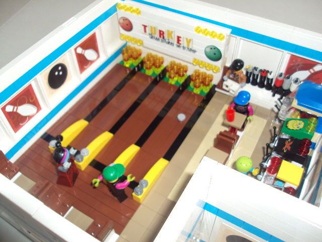 "Lego Custom City Building "" 7 10 Split "" Bowling Alley Video Arcade ..."