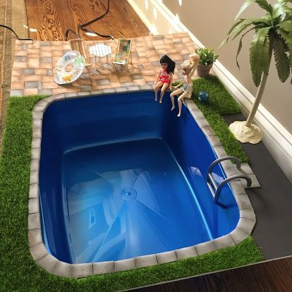 Diy miniature doll swimming pool and patio dyi toys and games dolls miniature dolls barbie for Barbie doll house with swimming pool