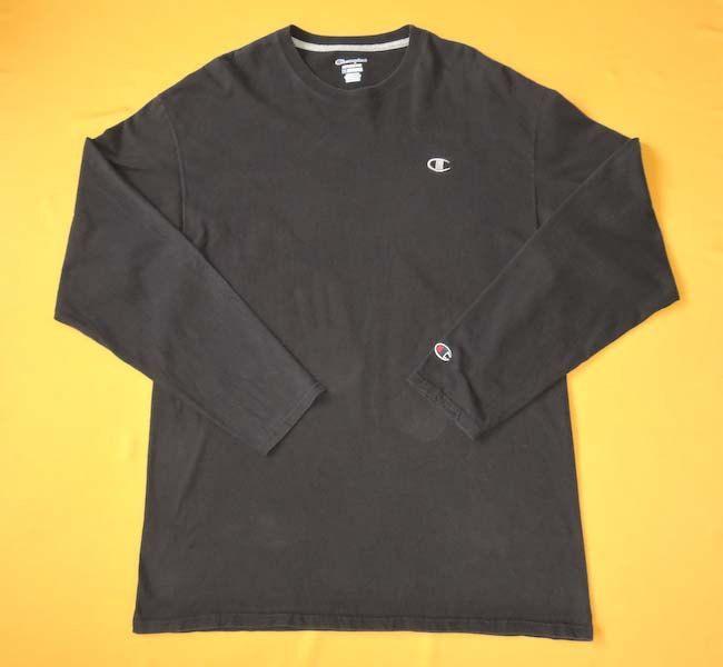 3bb80865b Champion T Shirt Logo Signature Athlete 90s Vintage Cotton Long Sleeves  Black Crew Neck T-Shirt Streetwear Size XL by InPersona on Etsy
